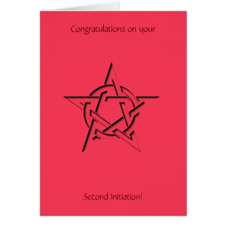 Wiccan Pentacle Second Initiation Congratulations Card