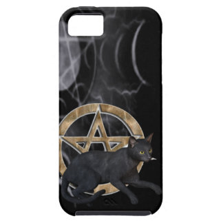 Wiccan pentacle with black cat iPhone 5 covers