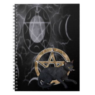 Wiccan pentacle with black cat spiral notebook