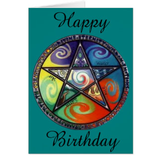 Wiccan Pentagram Birthday Card