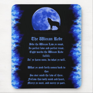 Wiccan Rede - Blue Flame Mouse Pad