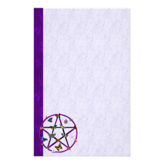 Wiccan Star and Butterflies Personalized Stationery