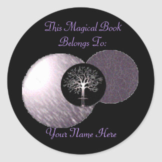 Wiccan Tree - Triple Moon Book Plate Classic Round Sticker