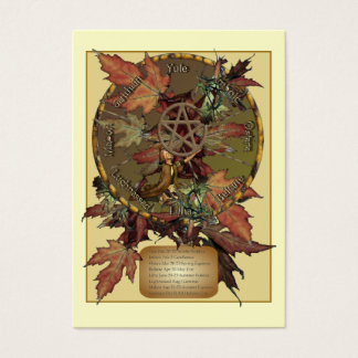 Wiccan Wheel With Pentacle Profile Card