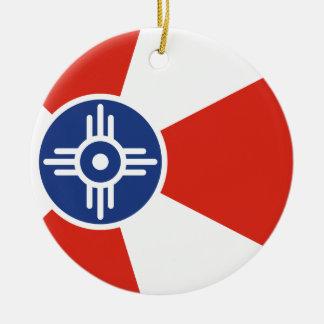 Wichita Kansas ICT Flag Ceramic Ornament