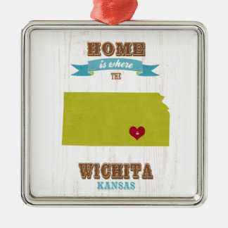 Wichita, Kansas Map – Home Is Where The Heart Is Metal Ornament