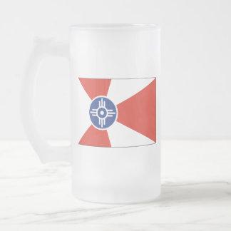 Wichita KS ICT Flag Frosted Glass Beer Mug