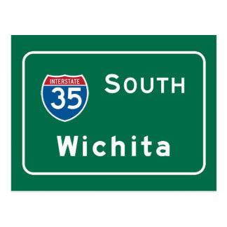Wichita, KS Road Sign Postcard