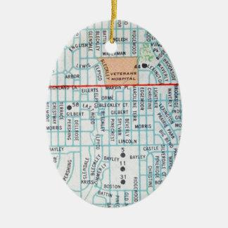 Wichita, KS Vintage Map Ceramic Ornament
