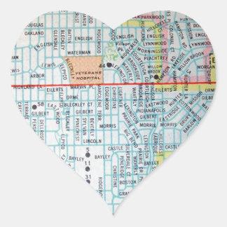 Wichita, KS Vintage Map Heart Sticker
