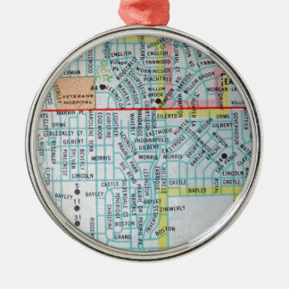 Wichita, KS Vintage Map Metal Ornament
