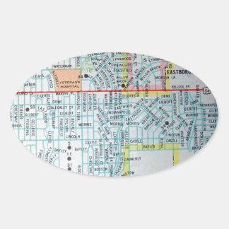 Wichita, KS Vintage Map Oval Sticker