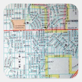 Wichita, KS Vintage Map Square Sticker