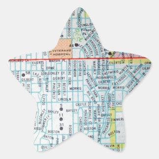 Wichita, KS Vintage Map Star Sticker