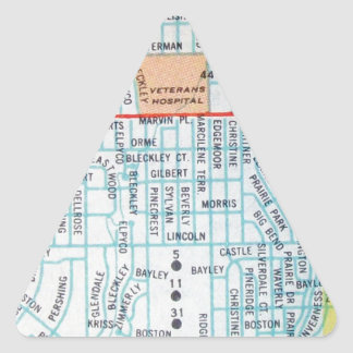Wichita, KS Vintage Map Triangle Sticker