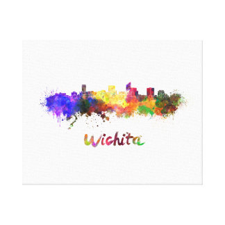 Wichita skyline in watercolor canvas print