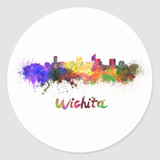Wichita skyline in watercolor classic round sticker