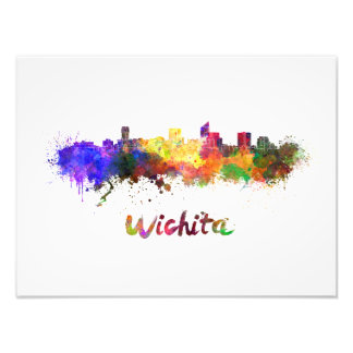 Wichita skyline in watercolor photographic print