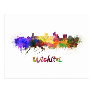 Wichita skyline in watercolor postcard