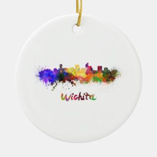 Wichita skyline in watercolor round ceramic ornament