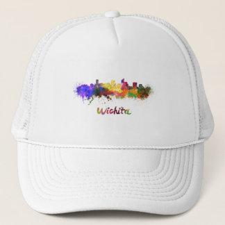 Wichita skyline in watercolor trucker hat