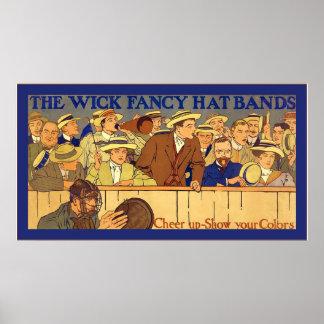 Wick Fancy Hat Bands ~ Vintage Advertising Poster