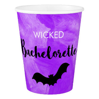 Wicked Bachelorette Party Black Bat Witchy Paper Cup