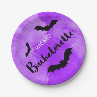 Wicked Bachelorette Party Black Bat Witchy Paper Plate