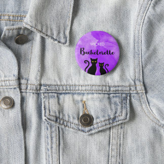 Wicked Bachelorette Party Black Cat Witchy 2 Inch Round Button
