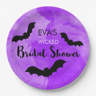 Wicked Bridal Shower Party Black Bat Witchy Paper Plate