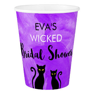 Wicked Bridal Shower Party Black Cats Witchy Paper Cup