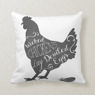 Wicked Chickens Lay Deviled Eggs Farmhouse Pillow