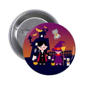 Wicked Dracula and Witch on Halloween 2 Inch Round Button
