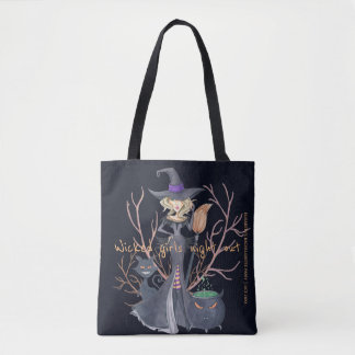 Wicked girls night out witch bachelorette party tote bag