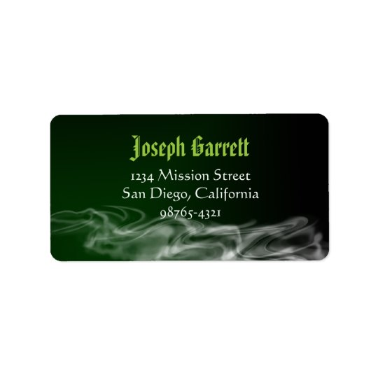 Wicked green smoke Halloween return address Label
