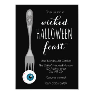 Wicked Halloween feast party invitation black