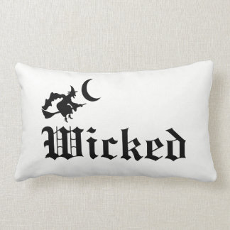 Wicked Halloween Witch Gothic Decor Black & White Lumbar Pillow