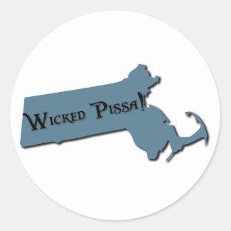 Wicked Pissa Massachusetts Classic Round Sticker