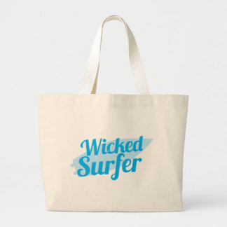 wicked surfer large tote bag
