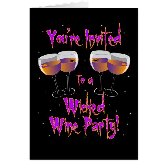 Wicked Wine Party Invitation Greeting Card