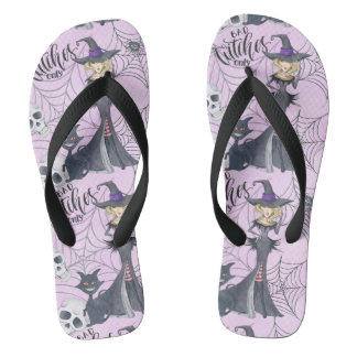 Wicked witch skull and black cat purple Halloween Flip Flops