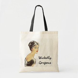 """Wickedly Gorgeous"" Quote Fashion Illustration Tote Bag"