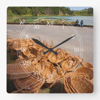 Wicker baskets for sale square wall clock