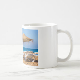 Wicker parasol with beach beds.JPG Coffee Mug