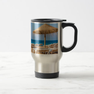 Wicker parasol with beach beds.JPG Travel Mug