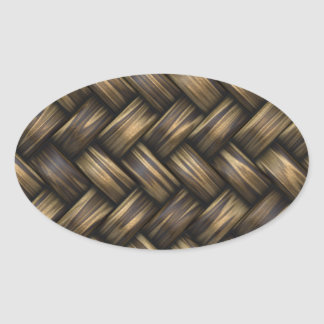 Wicker Rattan Weave Woven Pattern Basket Oval Sticker