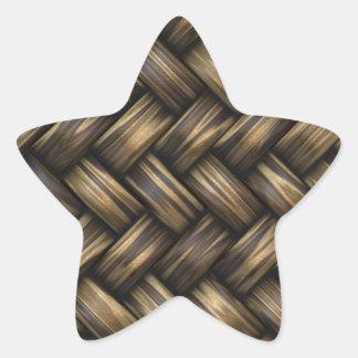 Wicker Rattan Weave Woven Pattern Basket Star Sticker