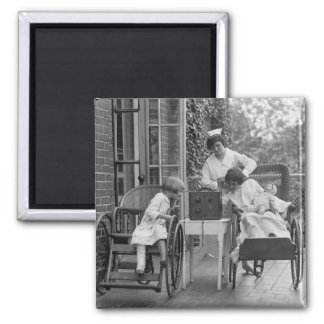 Wicker Wheelchairs, 1920s Square Magnet