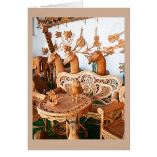 Wickerwork animals and furniture greeting card
