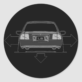 Wide and Low center cap decal Classic Round Sticker